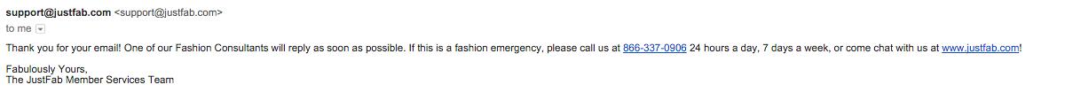 JustFab customer service email