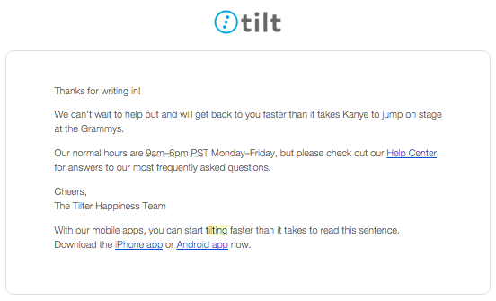 Tilt customer service email